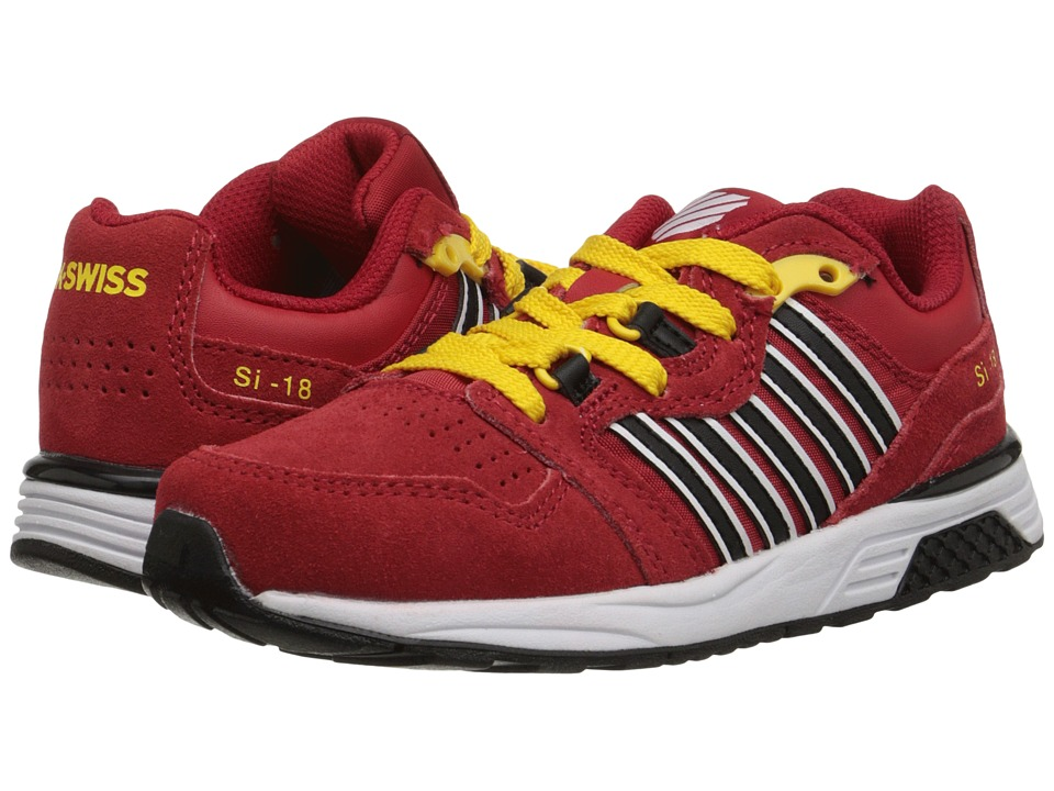 K-Swiss Kids - SI-18 Trainer 2 SDE (Little Kid) (Red/Black/Cyber Yellow) Boys Shoes