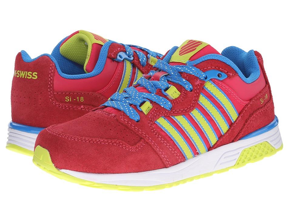 K-Swiss Kids - SI-18 Trainer 2 SDE (Little Kid) (Raspberry/Lime Punch/Brilliant Blue) Girls Shoes