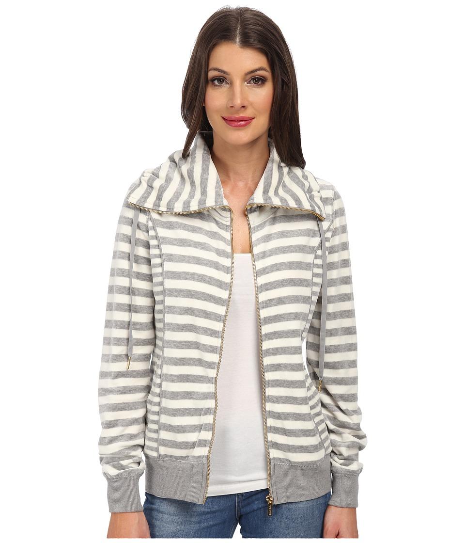 Calvin Klein - Mixed Striped Funnel Neck Jacket (Milk Combo) Women's Coat