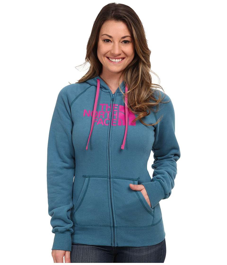The North Face - Half Dome Full Zip Hoodie (Juniper Teal/Luminous Pink) Women's Fleece