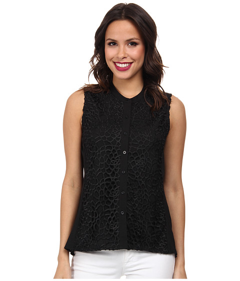 Calvin Klein - S/L Geo Lace Top (Black) Women