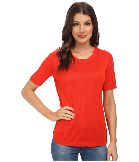 Calvin Klein - S/S Sweater w/ Pleats (Tango Red) Women