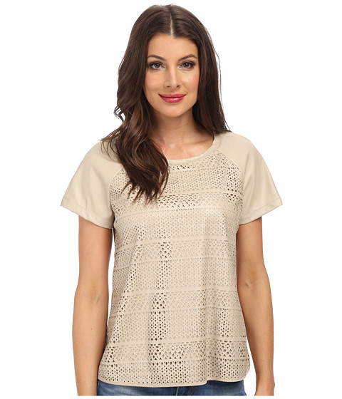 Calvin Klein - Short Sleeve Perforated PU Top (Latte) Women's Blouse
