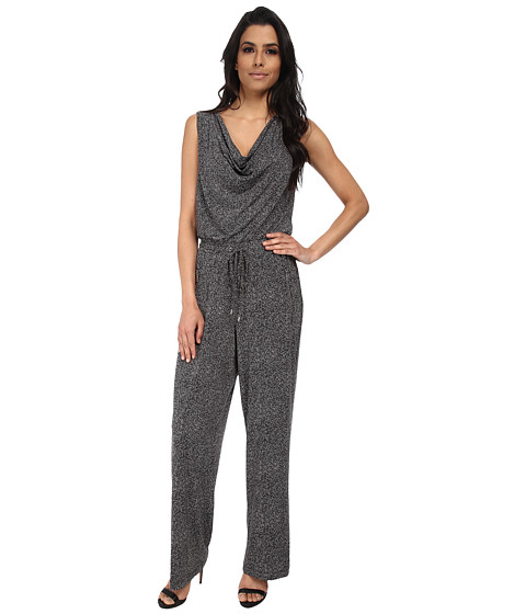 Calvin Klein - Print Cowl Neck Jumpsuit (Charcoal Multi) Women's Jumpsuit & Rompers One Piece
