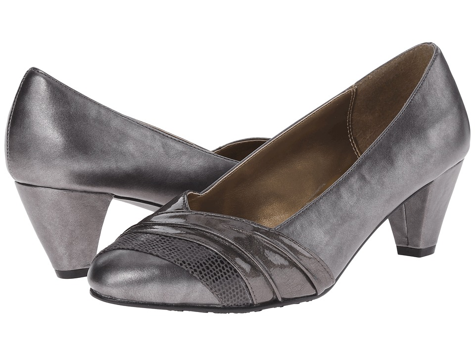Soft Style - Danette (Dark Pewter Vitello/Patent) Women's 1-2 inch heel Shoes