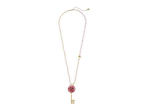 Betsey Johnson - Glitter Rose Necklace Rose Key Long (Pink) Necklace