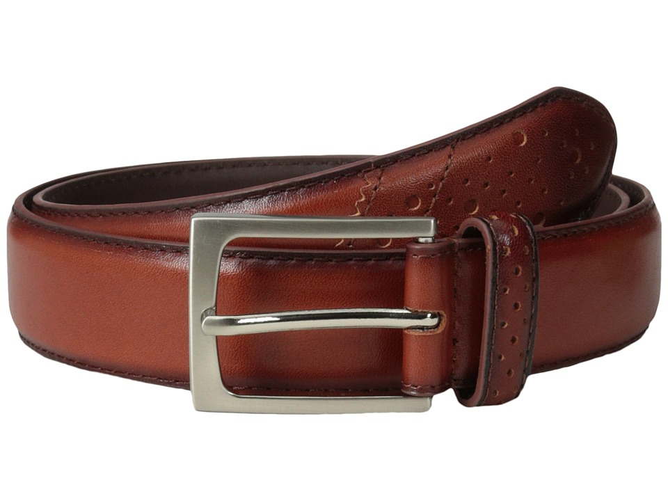 Florsheim - Full Grain Leather Belt with Wing Tip Style Tail 32mm (Saddle Tan) Men's Belts