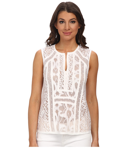 BCBGMAXAZRIA - Camy Lace Top (White) Women's Clothing