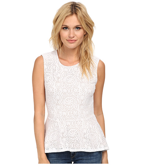 BCBGMAXAZRIA - Lyna Sleeveless Peplum Top (White) Women's Sleeveless