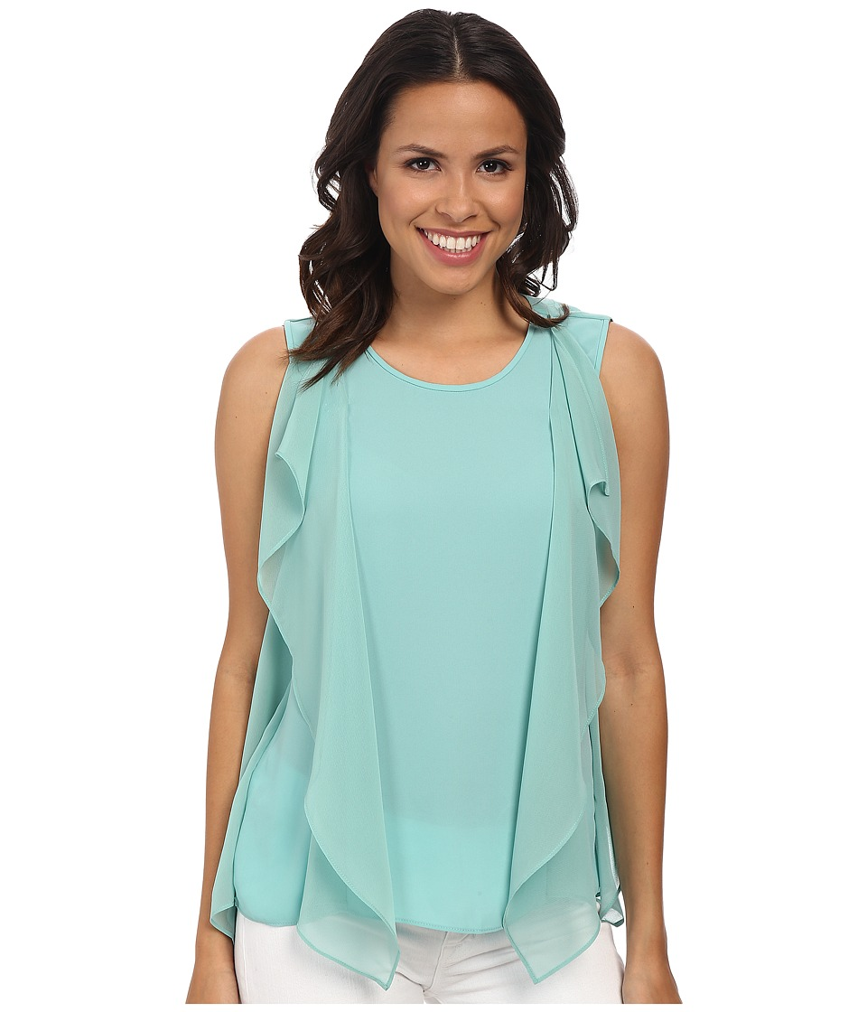 BCBGMAXAZRIA - Ivorie Side Flutter Top (Light Aqua) Women's Clothing