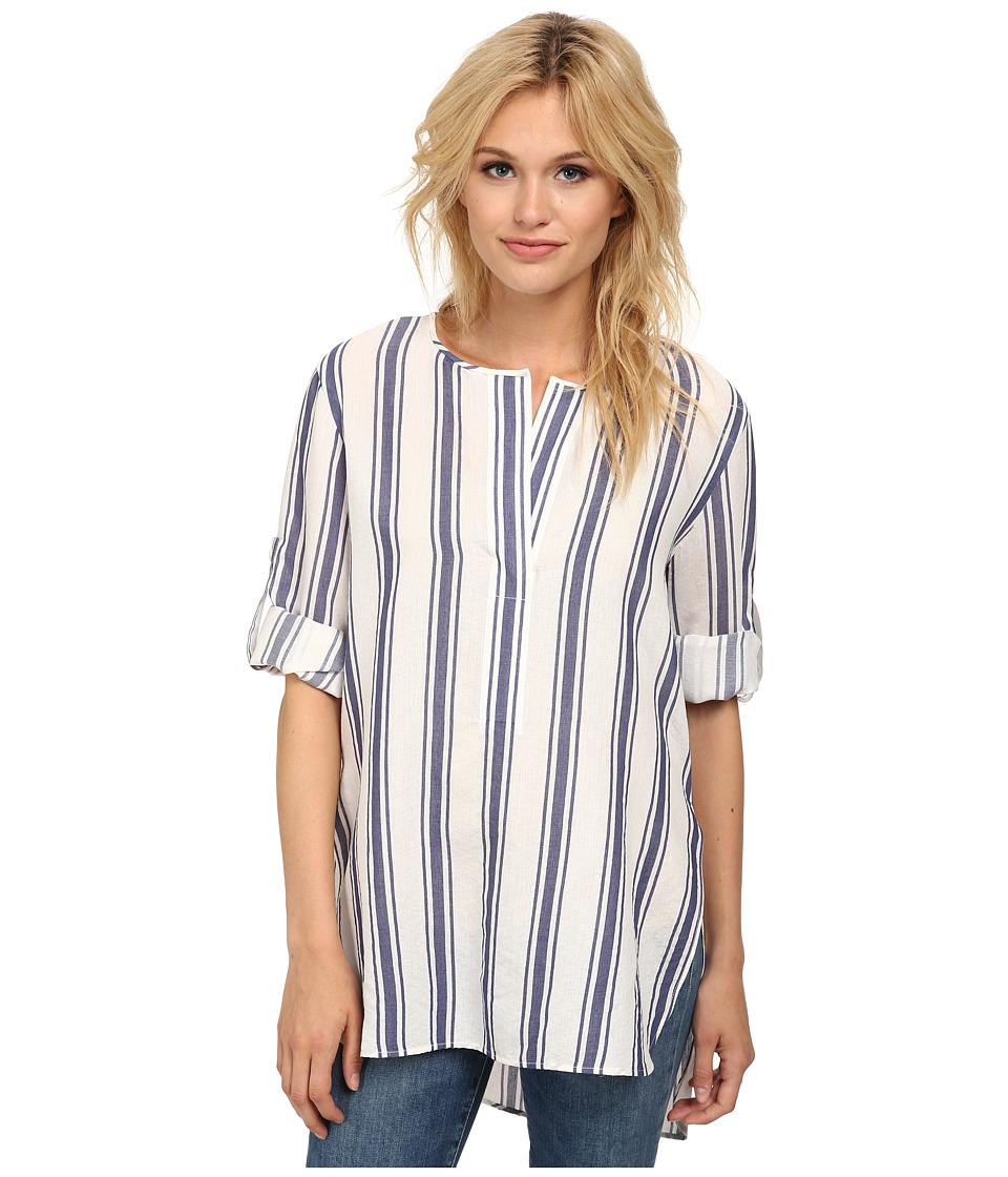 BCBGMAXAZRIA - Linzey Long Sleeve Top with Placket (Vintage Blue Combo) Women's Clothing