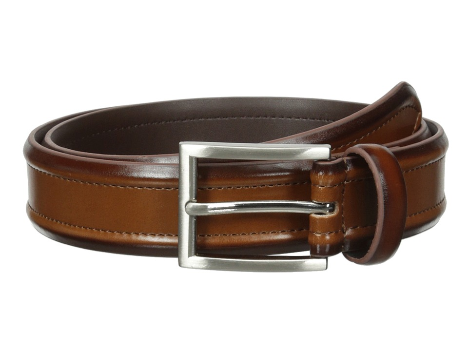 Florsheim - Dress Casual Burnished Leather Belt 32mm (Cognac) Men's Belts