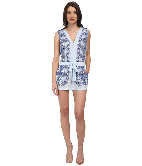 BCBGMAXAZRIA - Vance Scarf Print Jumpsuit (Light Oasis Combo) Women's Jumpsuit & Rompers One Piece