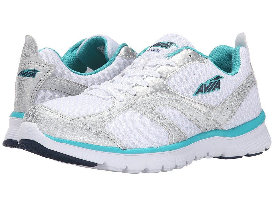 Avia Avi-Cube (White/Chrome Silver/Teal Blast/True Navy) Women