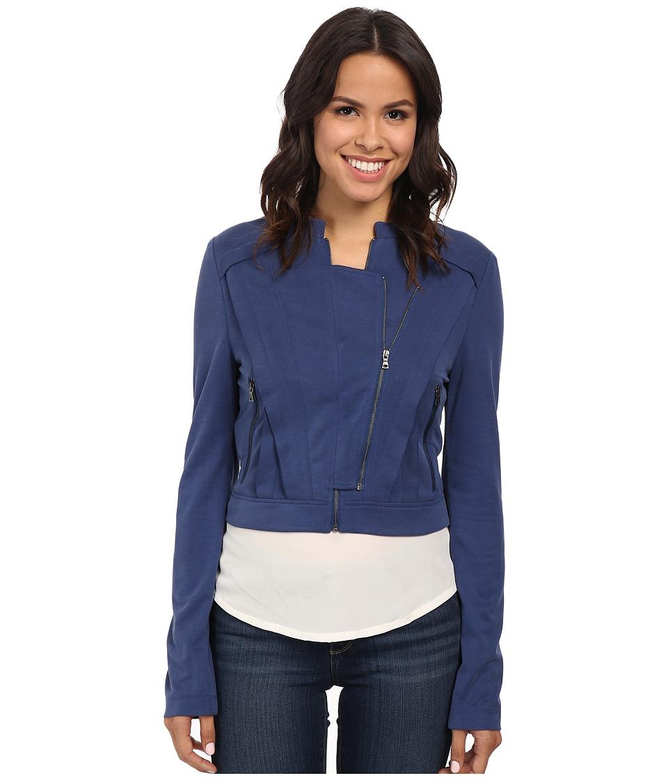 BCBGMAXAZRIA - Kevin Double Zipper Jacket (Vintage Blue Depths) Women's Coat