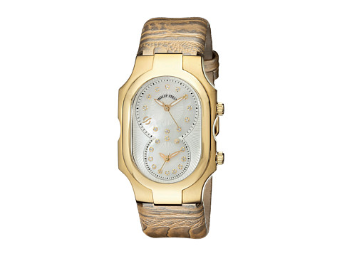 Philip Stein - Large Plated Dia Dial Watch on Ostrich Print Strap (Gold) Watches
