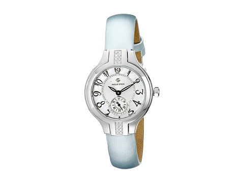Philip Stein - Mini Sport Dia Mother-of-Pearl Watch on Silk Calf Strap (Stainless/Blue) Watches