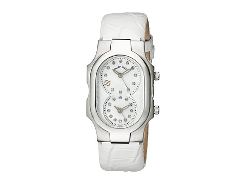 Philip Stein - Small Steel Dia Dial Watch on Lizard Print Strap (Stainless/White) Analog Watches