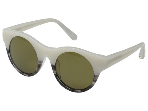 Elizabeth and James - Olive (Shiny White Black Horn/Olive Mono Polarized Lens) Fashion Sunglasses