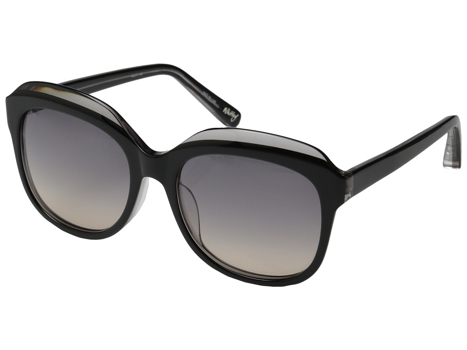 Elizabeth and James - Whitley (Shiny Black Grey Crystal Lamination/Smoke Grad Ocean Lens) Fashion Sunglasses