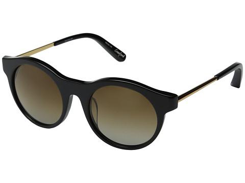 Elizabeth and James - Crawford (Shiny Black/Gold Metal/Brown Grad Polarized Lens) Fashion Sunglasses