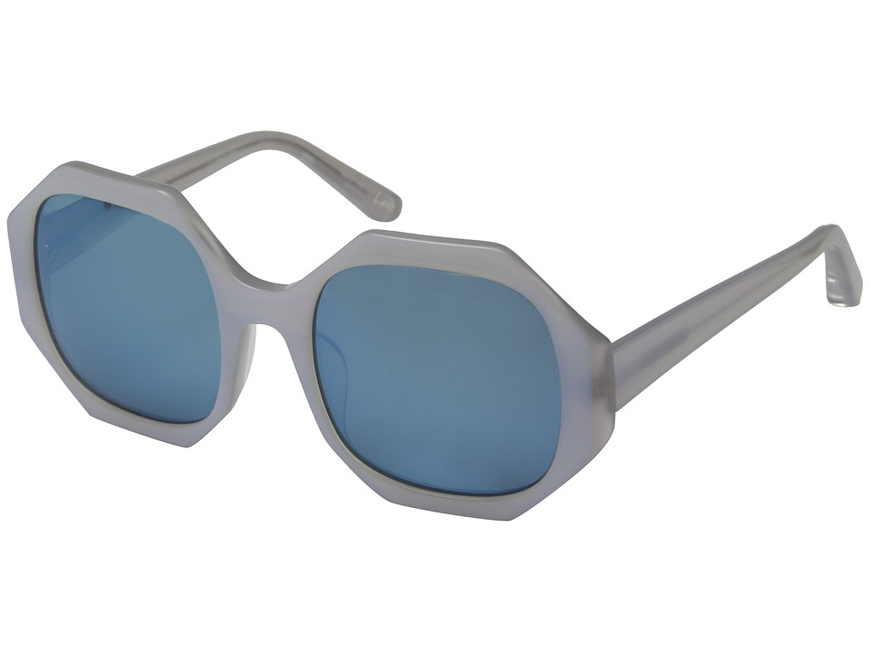 Elizabeth and James - Lane (Shiny Pearl White Clear Crystal Lamination/Blue Mirror Lens) Fashion Sunglasses