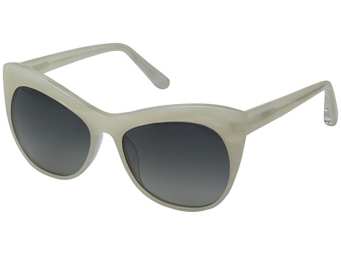 Elizabeth and James - Lafayette (Shiny Radiant White Horn/Smoke Grad Polarized Lens) Plastic Frame Fashion Sunglasses