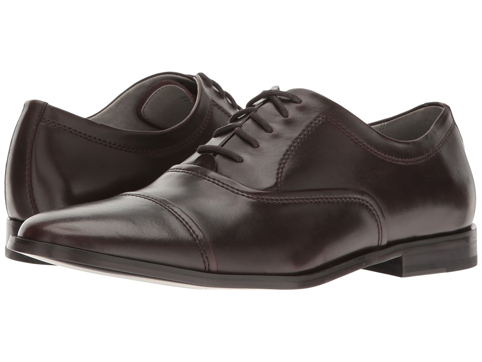 Calvin Klein - Nino (Dark Brown Leather) Men's Plain Toe Shoes