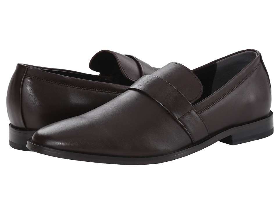 Calvin Klein - Nye (Dark Brown Leather) Men's Slip on Shoes