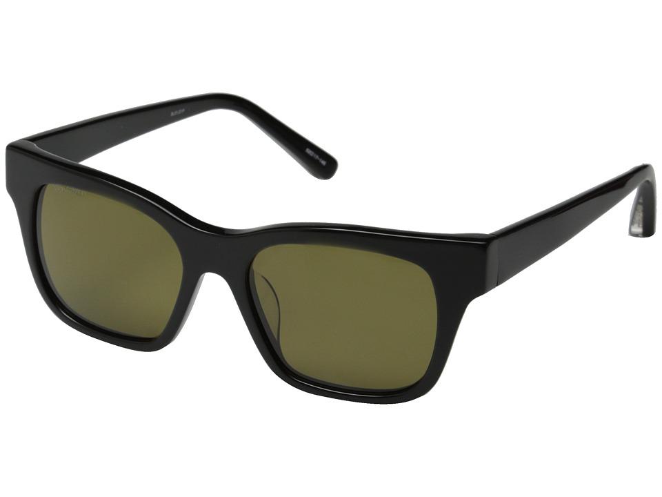 Elizabeth and James - Stockton (Shiny Black/Olive Mono Polarized Lens) Fashion Sunglasses
