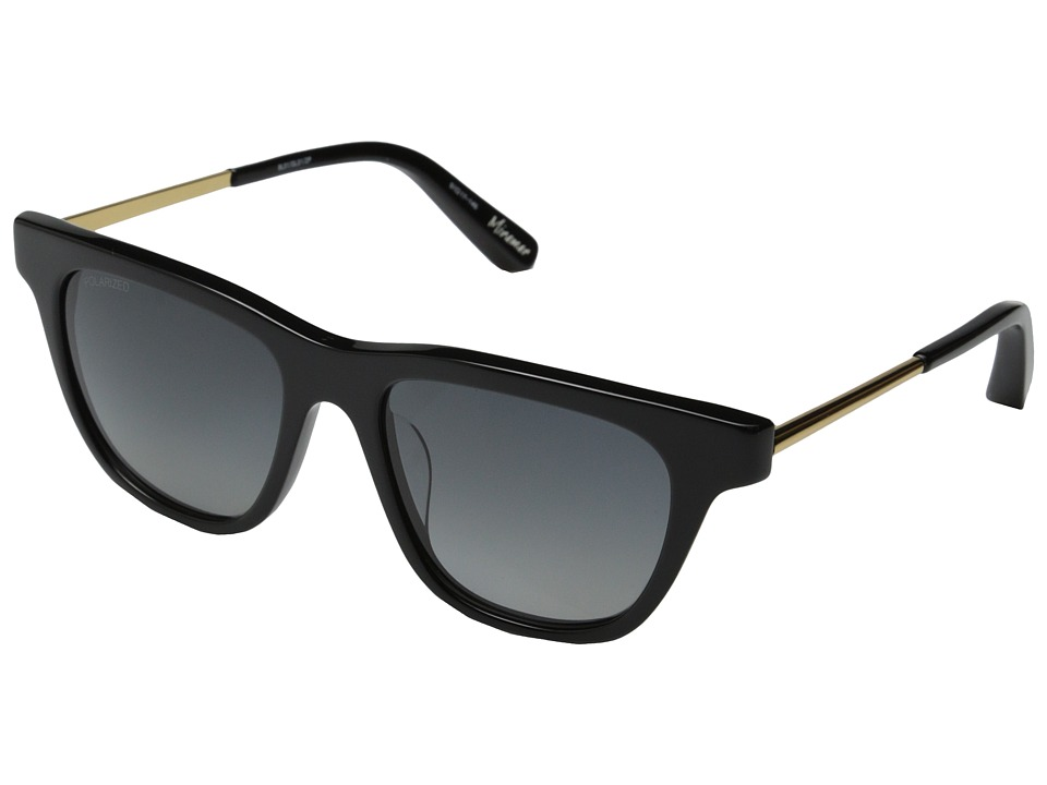 Elizabeth and James - Miramar (Shiny Black/Gold Metal/Smoke Grad Polarized Lens) Fashion Sunglasses