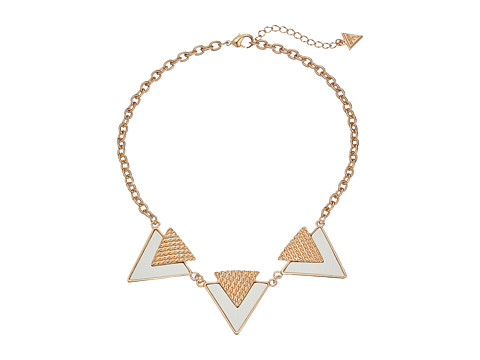 GUESS - Three Textured Triangle Necklace (Gold/White) Necklace
