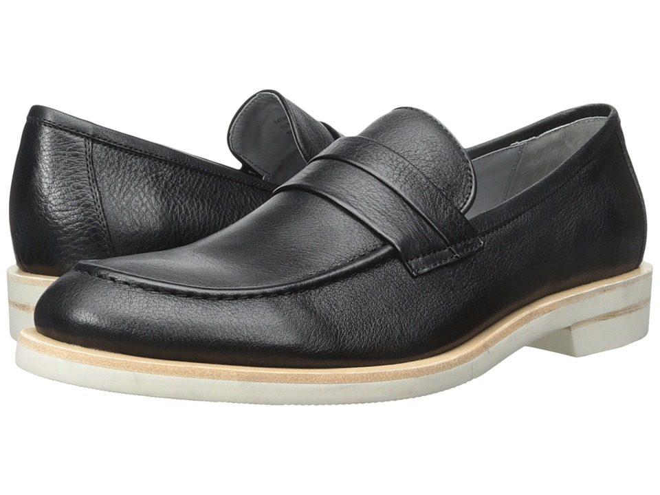 Calvin Klein - Yurik (Black Waxy Leather) Men's Dress Flat Shoes