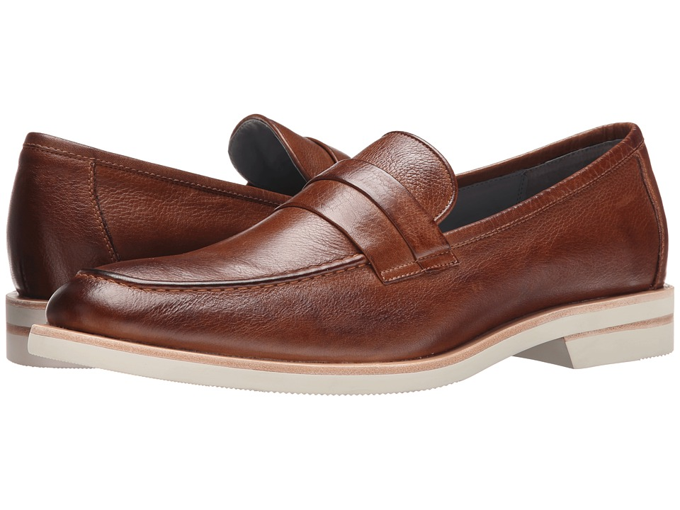 Calvin Klein - Yurik (Saddle Waxy Leather) Men's Dress Flat Shoes
