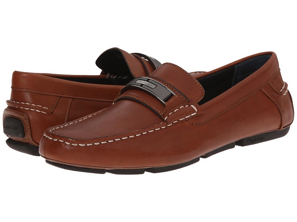 Calvin Klein - Mchale (British Tan Leather) Men's Slip on Shoes