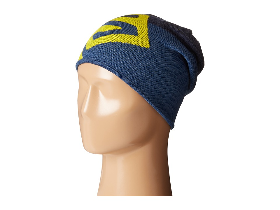 Salomon - Flat Spin Reversible Beanie (Big Blue-X/Midnight Blue/Light Alpha Yellow) Beanies