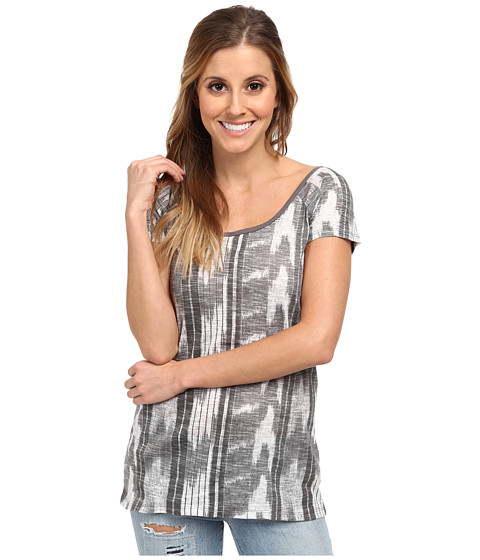 UNIONBAY - Bali Ikat Stripe Shelly Knit Top (Light Galaxy Grey) Women