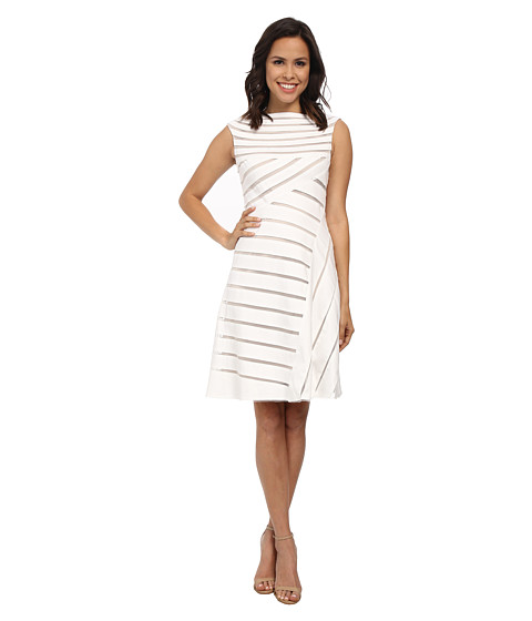 Adrianna Papell - Banded Flared Dress (White) Women's Dress