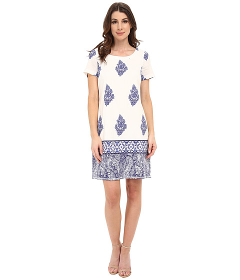Adrianna Papell - Printed Tunic Dress (Blue Multi) Women's Dress
