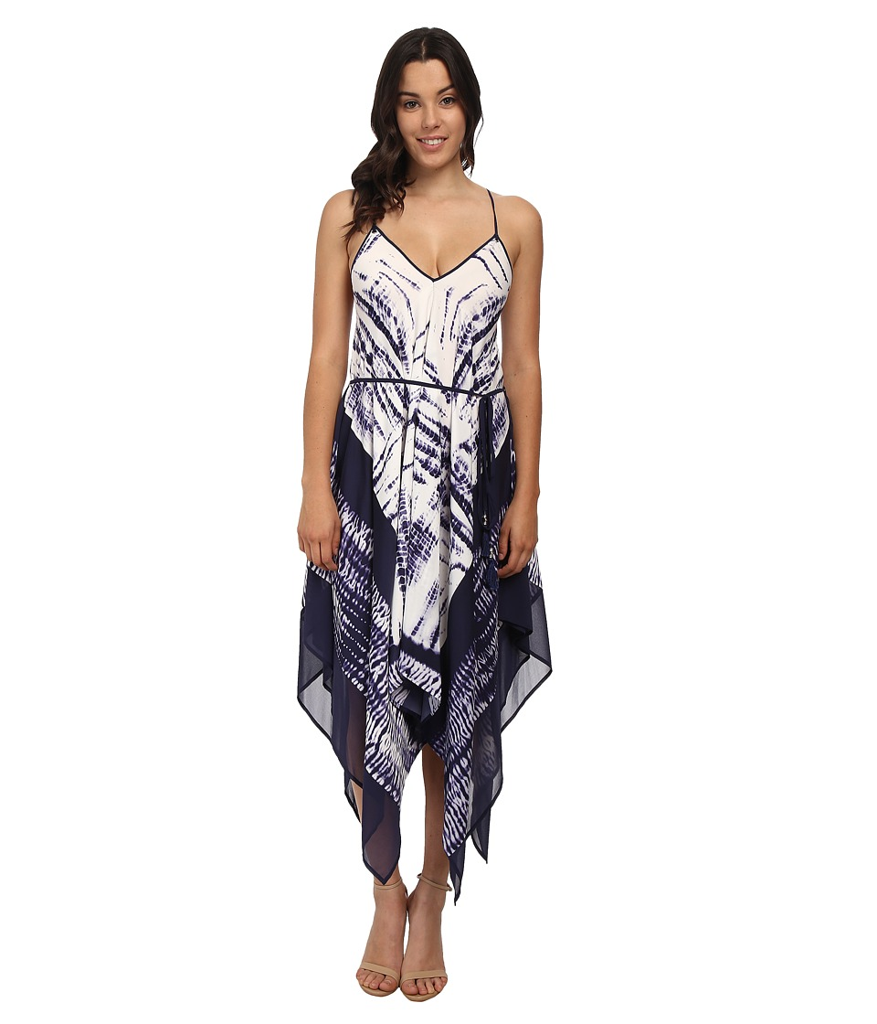 Adrianna Papell - Printed Hankerchief Hem Dress (Ink) Women's Dress