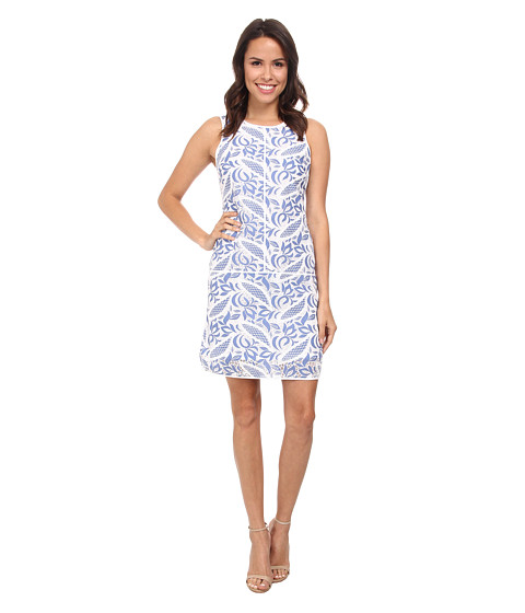 Adrianna Papell - Printed Lace Tank Dress (Spring Blue) Women