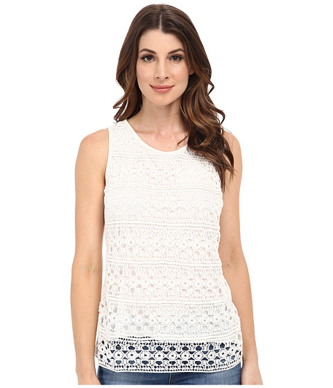 Adrianna Papell - Scoop Neck Crochet Stripe Top (Ivory) Women's Clothing