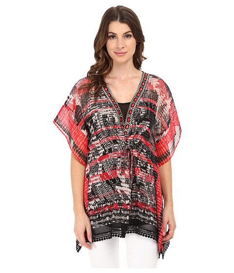Adrianna Papell - Placement Print Kaftan Top (Black/Pink) Women's Clothing
