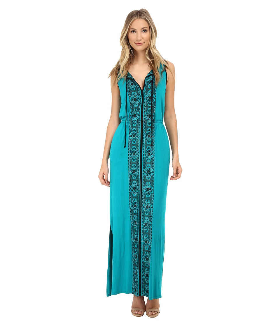 Adrianna Papell - Sleeveless Embroidered Maxi (Turquoise) Women's Dress