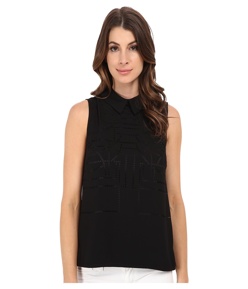 Adrianna Papell - Laser Cut Shirt Collar Sleeveless Top (Black) Women's Sleeveless