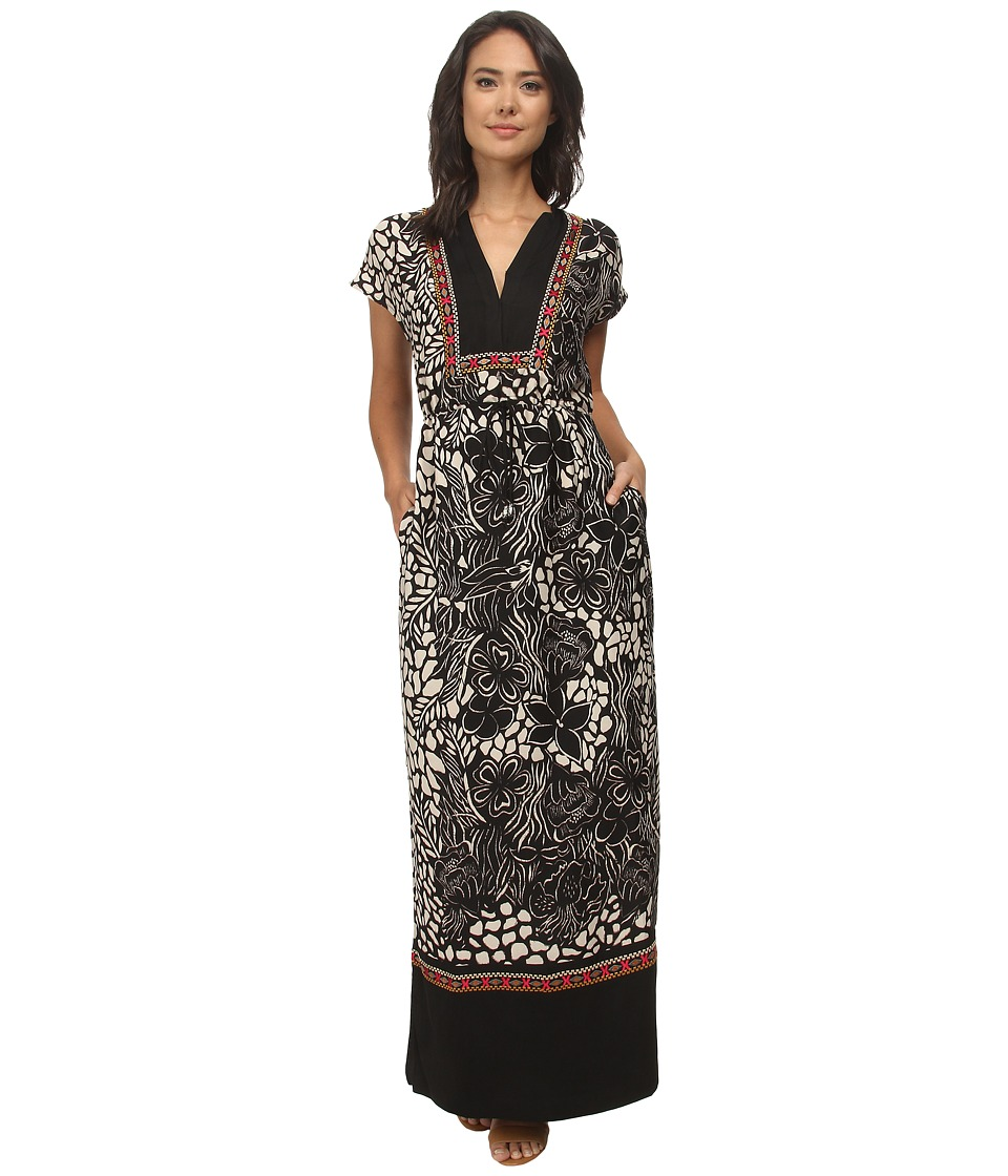 Adrianna Papell - Printed Tunic Maxi Dress (Black/Beige) Women's Dress