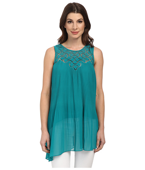 Adrianna Papell - Pleated Asymmetric Tunic (Turquoise) Women