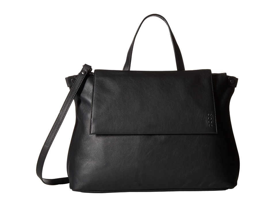 ECCO - Sculptured Satchel (Black) Satchel Handbags
