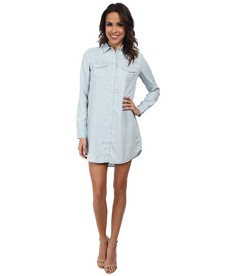 True Religion - Tencel Relaxed Georgia Shirtdress (Light Bleach) Women