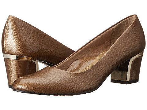 Soft Style - Deanna (Gold Cross Hatch Patent/Gold) Women's 1-2 inch heel Shoes